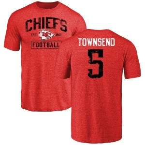 Tommy Townsend Kansas City Chiefs Men's Red Distressed Name & Number Tri-Blend T-Shirt