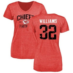 James Williams Kansas City Chiefs Women's Red Distressed Name & Number Tri-Blend V-Neck T-Shirt