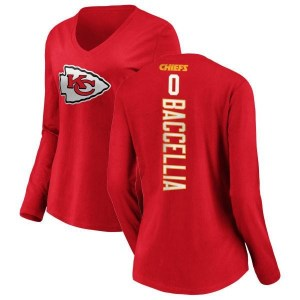 Andre Baccellia Kansas City Chiefs Women's Red Backer Slim Fit Long Sleeve T-Shirt -