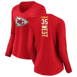 Charcandrick West Kansas City Chiefs Women's Red Pro Line Backer Slim Fit Long Sleeve T-Shirt -