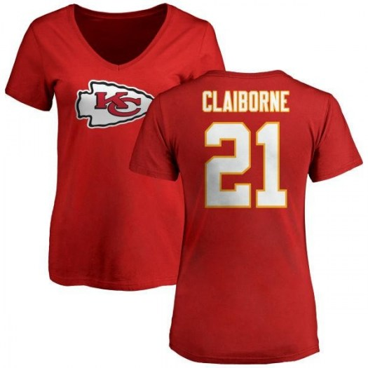 Morris Claiborne Kansas City Chiefs Women's Red Any Name & Number Logo Slim Fit T-Shirt -