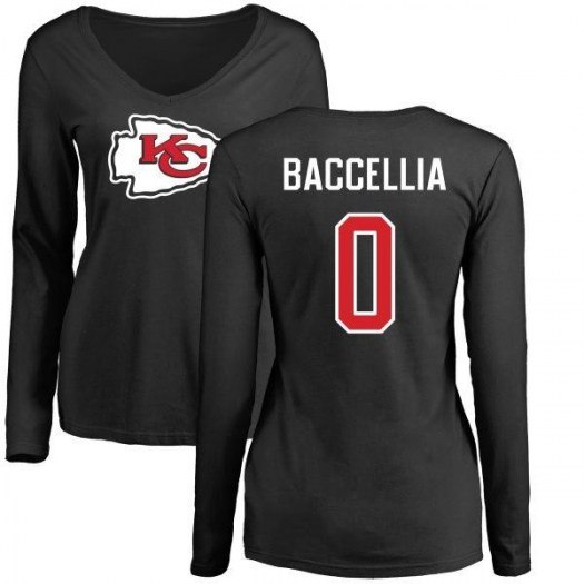 Andre Baccellia Kansas City Chiefs Women's Black Name & Number Logo Slim Fit Long Sleeve T-Shirt -
