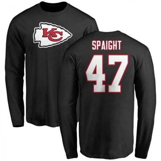 Martrell Spaight Kansas City Chiefs Men's Black Name & Number Logo Long Sleeve T-Shirt -