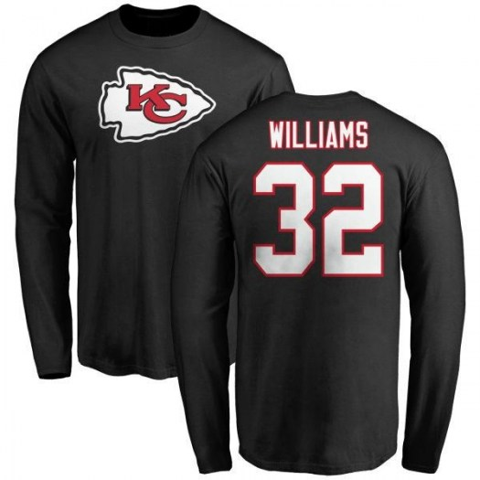 James Williams Kansas City Chiefs Youth Black Name & Number Logo Long Sleeve T-Shirt -