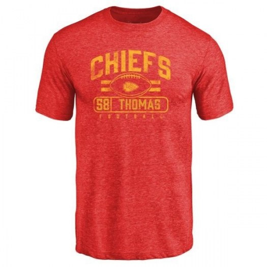 Derrick Thomas Kansas City Chiefs Men's Red Pro Line by Branded Flanker Tri-Blend T-Shirt -